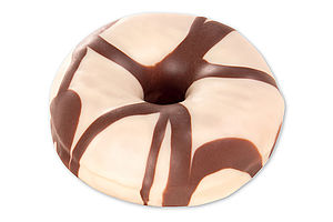 Fully baked donut with a light icing and a wavy decor made of cocoa-based glaze.