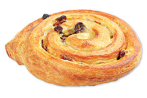 Pre-proved Butter and vanilla chelsea bun with sultanas.