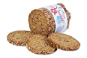 Pre-baked Protein Evening Bread canned with a crispy crust sprinkled with seeds.